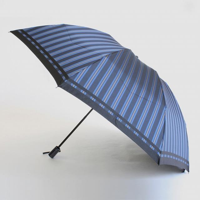 【紳士折りたたみ雨傘】Tie Stripe×Plain BLUE