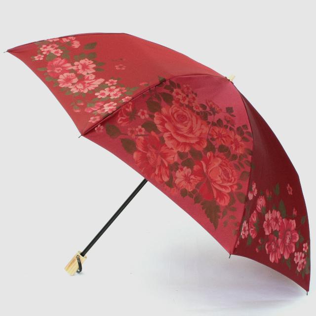 【晴雨兼用折りたたみ傘】絵おり  大ばら エンジ