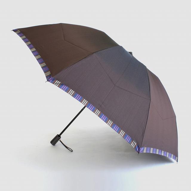 【紳士折りたたみ雨傘】Tie Plain×Stripe BROWN