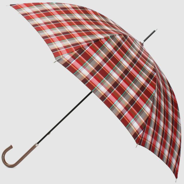 【雨傘】レトロチェック マドラス風:赤