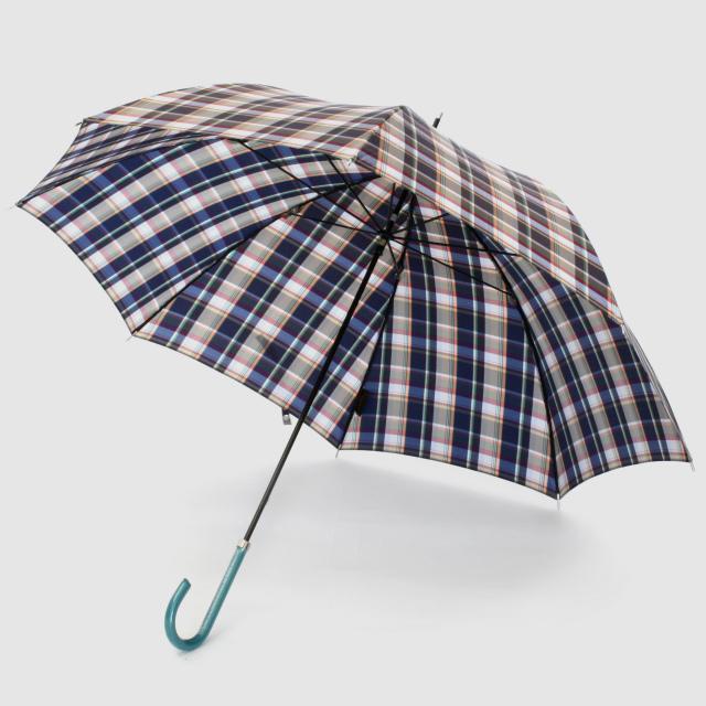 【雨傘】レトロチェック マドラス風:ネイビー