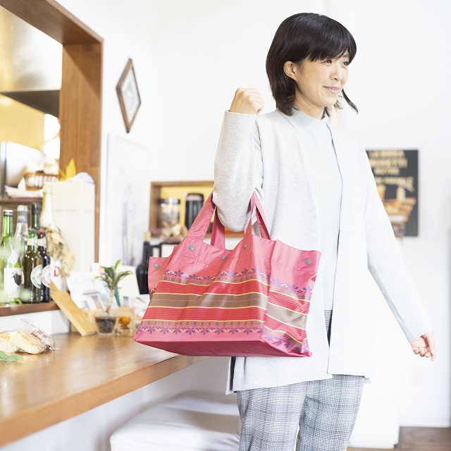 *NEW*【防水・撥水エコバッグ】Lunch Tote リーフボーダー:ピンク