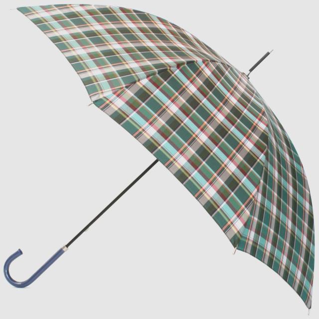 【雨傘】レトロチェック マドラス風:グリーン
