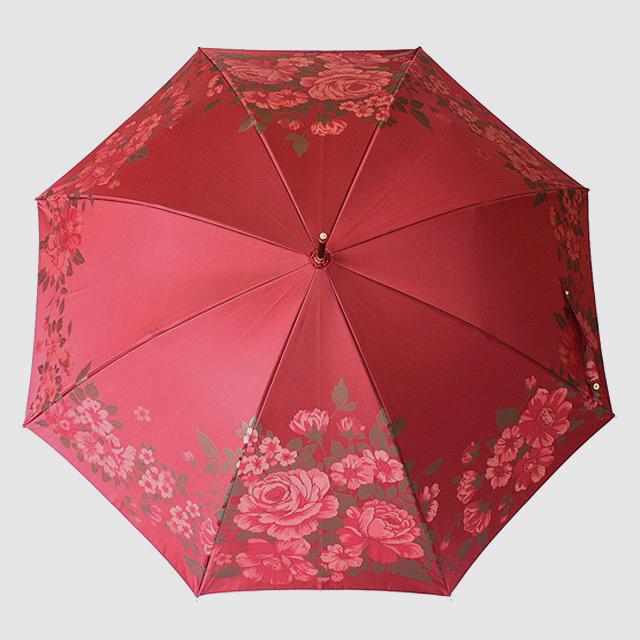 【晴雨兼用】絵おり 大バラ エンジ