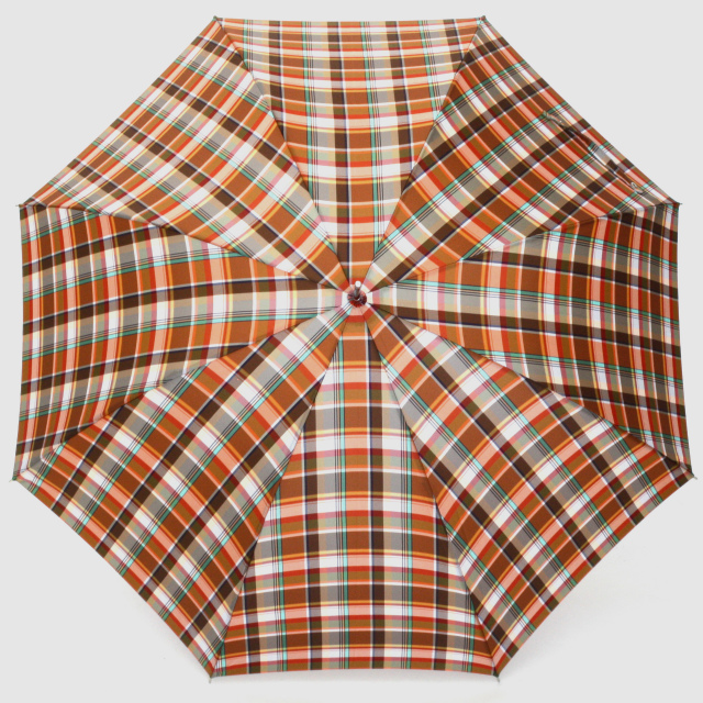 【雨傘】レトロチェック マドラス風:オレンジ
