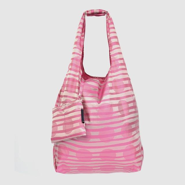 【防水・撥水エコバッグ】Umbrella cloth bag ドットボーダー ピンク