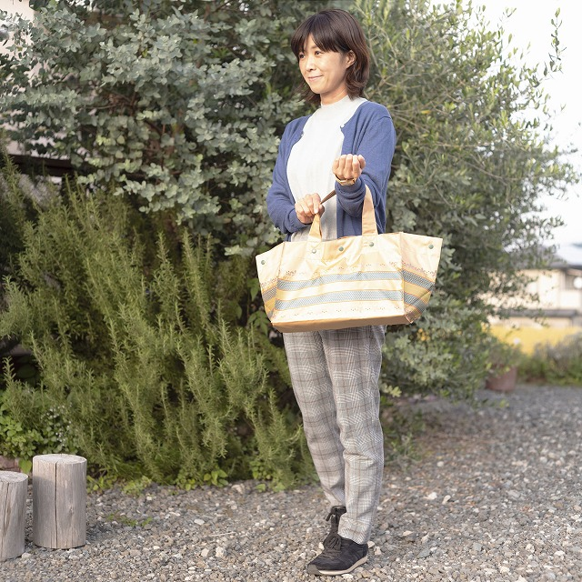 *NEW*【防水・撥水エコバッグ】Lunch Tote リーフボーダー:オレンジ