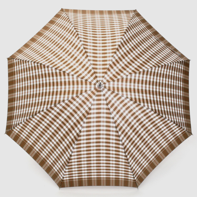 【雨傘】レトロチェック ギンガム風:ベージュ