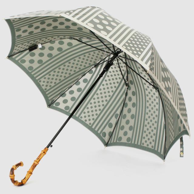 【晴雨兼用】kirie ドットとストライプ(フォレストグリーン)