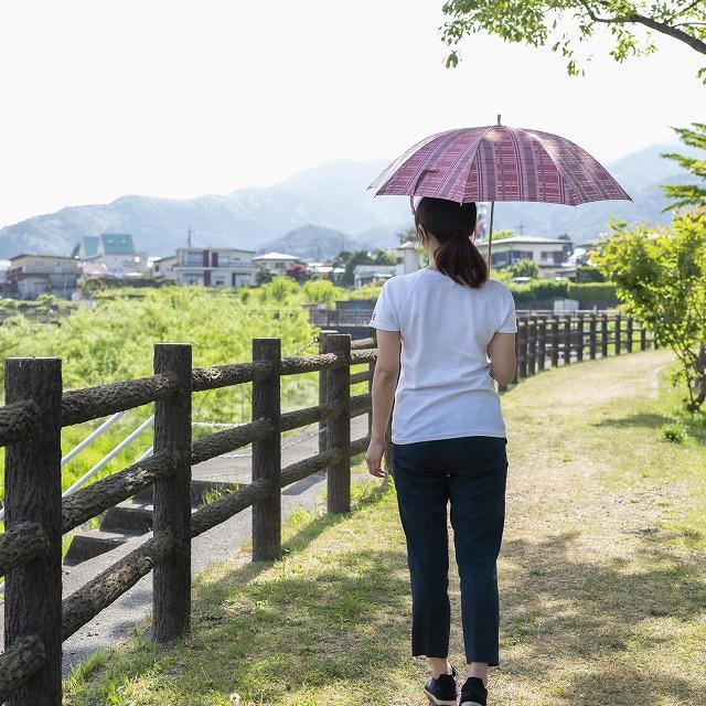*NEW*【晴雨兼用 ショート傘】エヌクール チェック(ピンク)