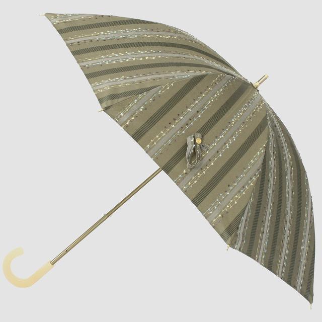 *NEW*【晴雨兼用 ショート傘】エヌクール ファンシーストライプ(カーキ)
