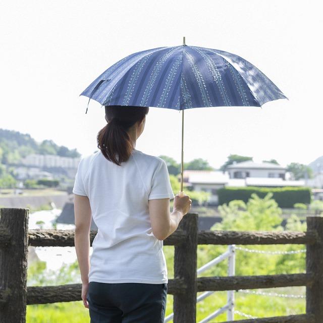 *NEW*【晴雨兼用 ショート傘】エヌクール ファンシーストライプ(ブルー)