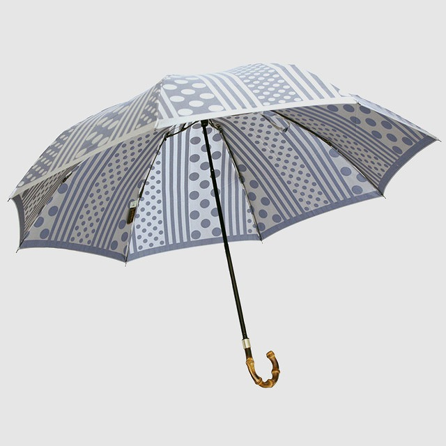 【晴雨兼用 折りたたみ傘】kirie  ドットとストライプ(アッシュブルー)