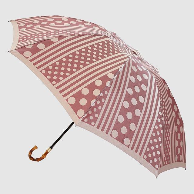 【晴雨兼用 折りたたみ傘】kirie  ドットとストライプ(アンティークボルドー)