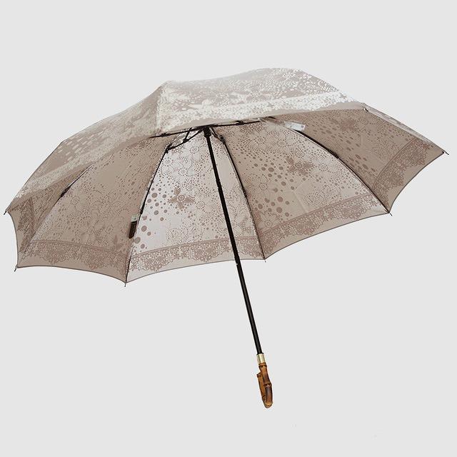 【晴雨兼用 折りたたみ傘】kirie  ドットフラワー(モカブラウン)