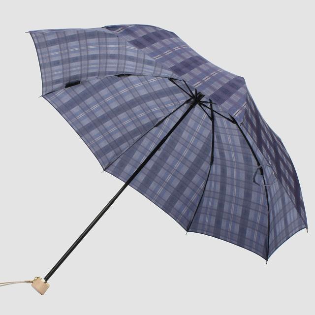 *NEW*【晴雨兼用折りたたみ】エヌクール 格子(ブルー)