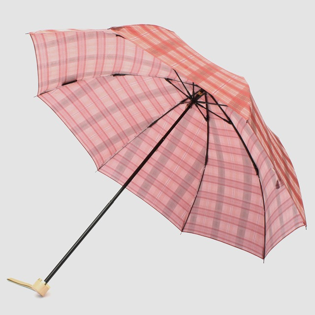 *NEW*【晴雨兼用折りたたみ】エヌクール 格子(ピンク)