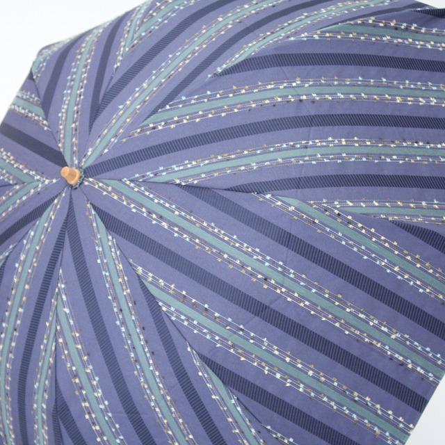 *NEW*【晴雨兼用折りたたみ】エヌクール ファンシーストライプ(ブルー)