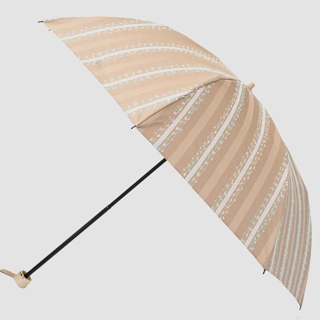 *NEW*【晴雨兼用折りたたみ】エヌクール ファンシーストライプ(ベージュ)