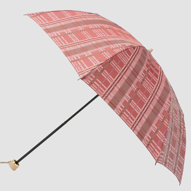 *NEW*【晴雨兼用折りたたみ】エヌクール チェック(ピンク)