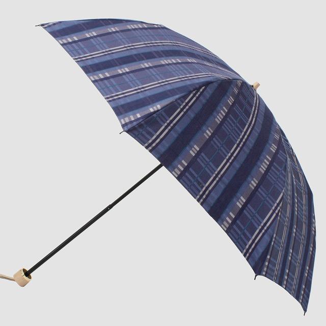 *NEW*【晴雨兼用折りたたみ】エヌクール チェック(ブルー)