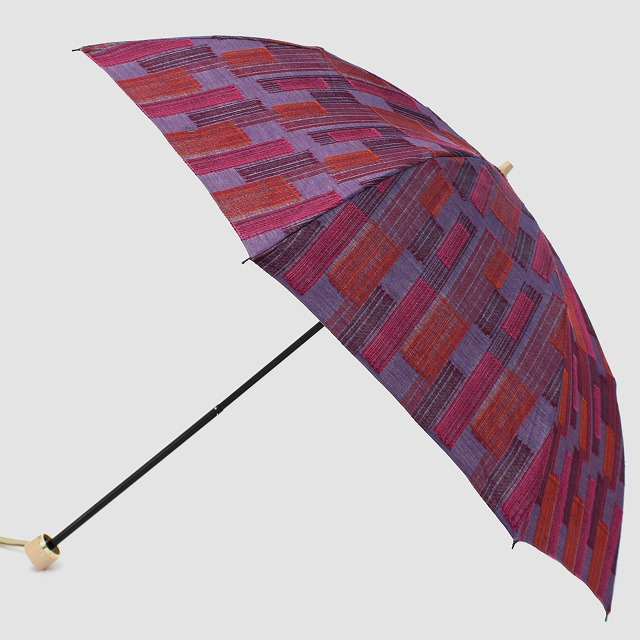 *NEW*【晴雨兼用折りたたみ】エヌクール ブロックカット(パープル)