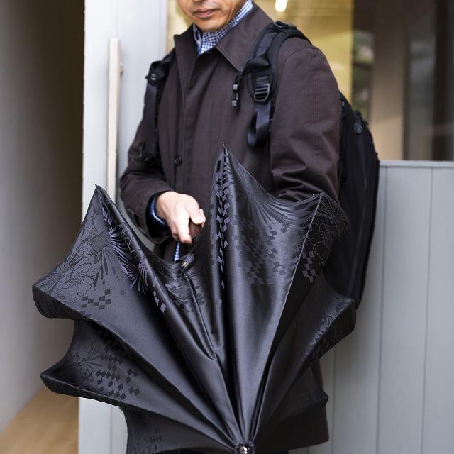 【紳士晴雨兼用 折りたたみ傘】monotone  花