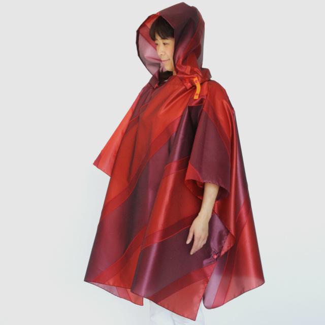 repel. Rain poncho -Red Bordeaux-