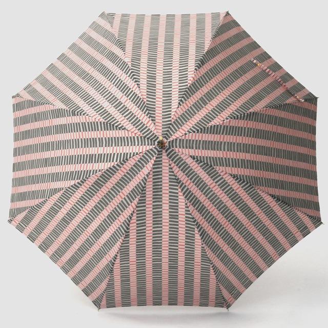 【雨傘】ノルディックジャカード 変わりストライプ レッドブラック