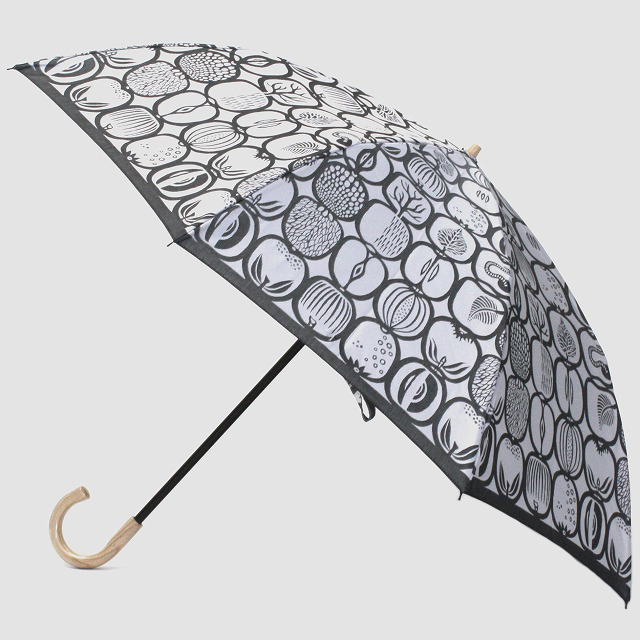 【晴雨兼用 折りたたみ傘】 Stig L 【FRUKTLADA】(フルーツバスケット) 白×黒