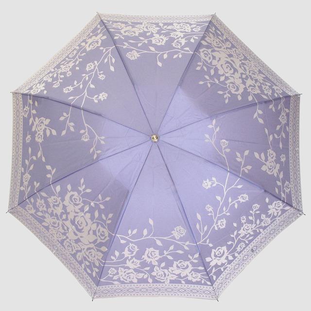 【晴雨兼用 折りたたみ傘】kirie  バラ(ロイヤルパープル)