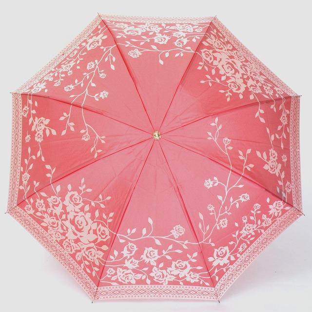 【晴雨兼用 折りたたみ傘】kirie  バラ(フレンチレッド)