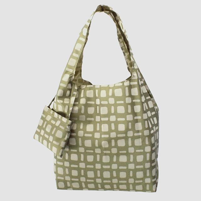 【防水・撥水エコバッグ】Umbrella cloth bag スクエアドット カーキ