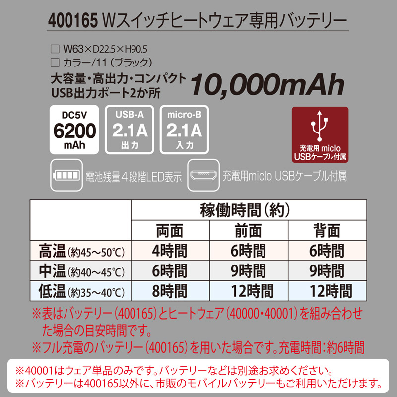 【AT400165 バッテリー単体】_Wスイッチヒートウェア専用バッテリー