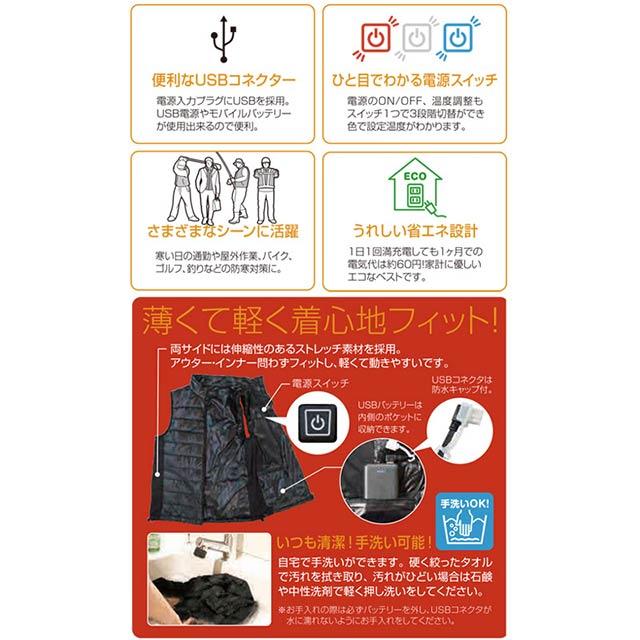 【WV20BC-HBセット】_防寒あったかベスト迷彩+バッテリーset(発熱体内蔵)