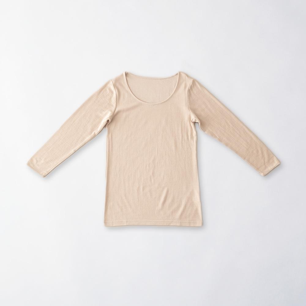 肌側シルク100%インナー  エアリー8分袖(内絹外ウール)[メール便可]