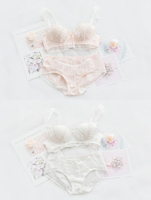 花飾り付きフリル下着セット2カラー《かわいいコスプレランジェリー》【SEVENTY-THREE】【2721】