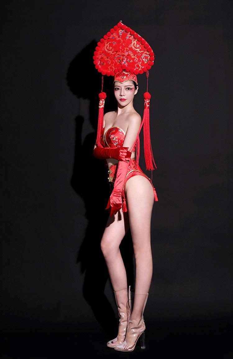 セクシー ダンスウェア セットアップ コスチューム 赤 レッド 中国 チャイナ ダンス衣装 イベント ダンス 衣装【dance-8255】