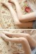 【即日発送】デザインストッキングベージュ/ピンク花飾り付き/デザインタイツ《ハロウィンストッキングレディース》【Malymoon/マリームーン】【st624】
