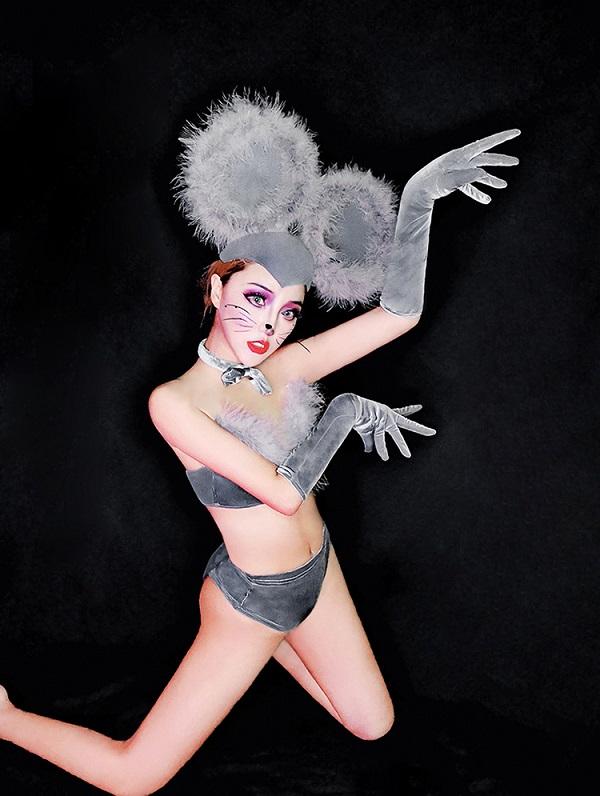 ダンス衣装 セクシー ダンス 衣装 ダンスウェア ダンスウエア 舞台衣装 グレー 灰色 ネズミ マウス【dance-8416】