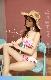 【即日発送】セクシーバンドゥビキニ/オルテガ柄×ピンク《レディース水着2点セット》【m9002】