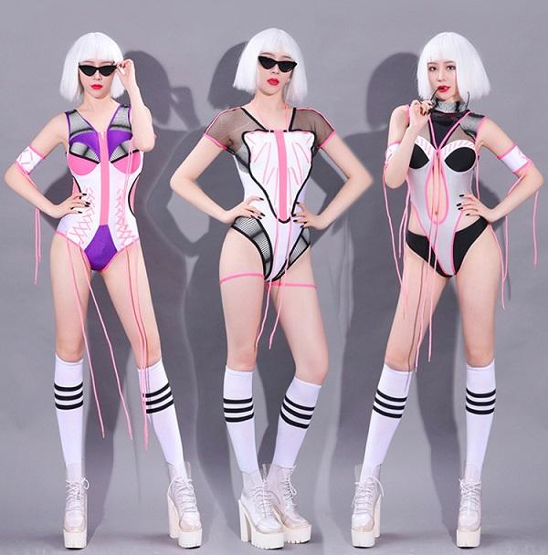 ダンス衣装 セクシー ダンス 衣装 ダンスウェア ダンスウエア 舞台衣装 ボディスーツ ブラック ピンク【dance-8234】