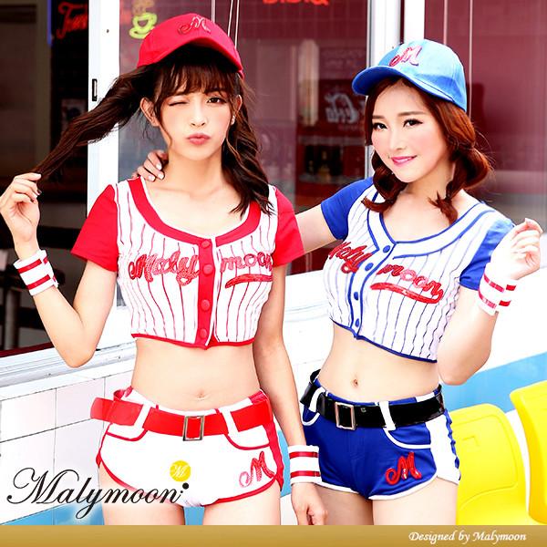 【即日発送】ベースボールガール2カラー《ハロウィンコスプレ6点セット》【Malymoon/マリームーン】【7100】