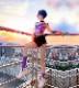 ダンス衣装 セクシー ダンス 衣装 ダンスウェア ダンスウエア 舞台衣装 デニムパンツ レースアップ ピンク タイダイ 蝶々【dance-8117】