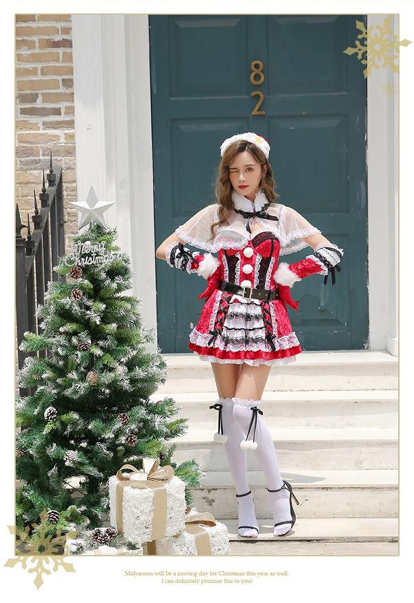 【即日発送】ケープサンタクロース《クリスマスコスプレ8点セット》【Malymoon/マリームーン】【9559】