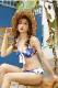 【即日発送】セクシーバンドゥビキニ/バラ柄×ブルー《レディース水着2点セット》【m9002-2】