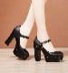 【22.5cmは即日発送】チャンキーヒールブラックパンプス《可愛いコスプレ小物》【Malymoon/マリームーン】【maid-shoes1】