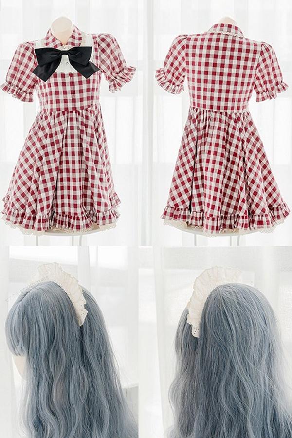 ギンガムチェックメイド服《かわいいコスプレ4点セット》【SEVENTY-THREE】【2798】