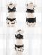 ブラックシフォンコスランジェリー《かわいいコスプレ5点セット》【SEVENTY-THREE】【2728】