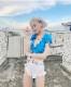 ダンス衣装 セクシー ダンス 衣装 ダンスウェア ダンスウエア 舞台衣装 ブルー ホワイト 白 ジーンズ【dance-8106】